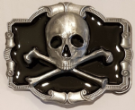Skull and Crossbones Belt Buckle with display stand. Code DA2